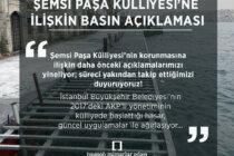 Şemsi Paşa Külliyesi'ne İlişkin Basın Açıklaması